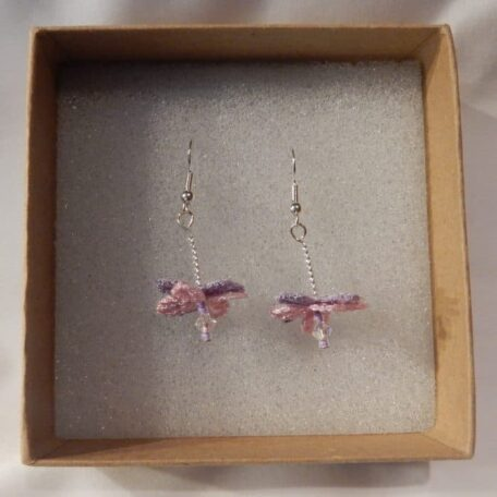 Flower Fairy Earrings | Pink and Purple. Handmade by the Textile Alchemist
