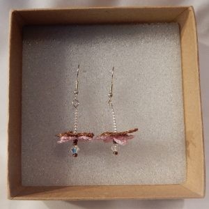 Flower Fairy Earrings Pink and Copper handmade by the Textile Alchemist