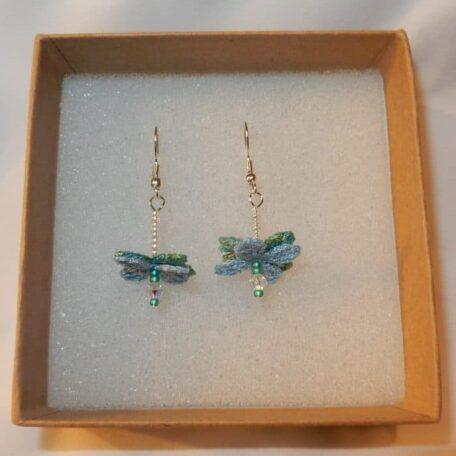 Flower Fairy Earrings Blue handmade by the Textile Alchemist