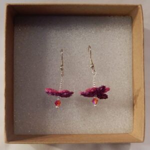 Flower Fairy Earrings Fuchsia handmade by the Textile Alchemist