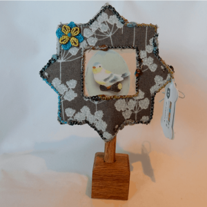 New Forest flower Photo Frame small handmade by Textile Alchemist.