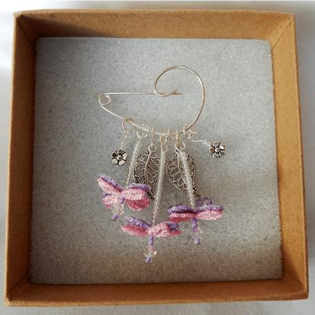 Flower Fairy Brooch Pink handmade by the Textile Alchemist