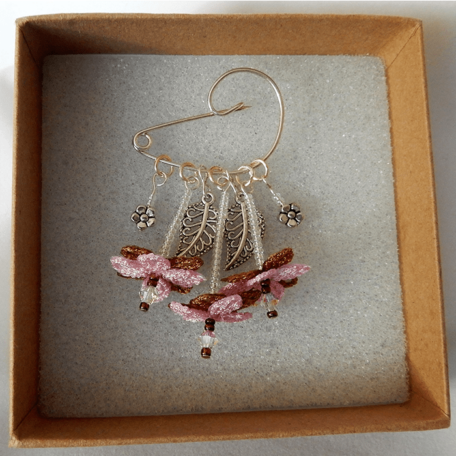 Flower Fairy Brooch | Pink and Copper handmade by the Textile Alchemist