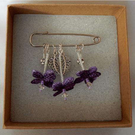 Flower Fairy Brooch Purple. Handmade by the Textile Alchemist