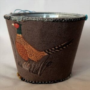 Tealight pheasant design by the Textile Alchemist